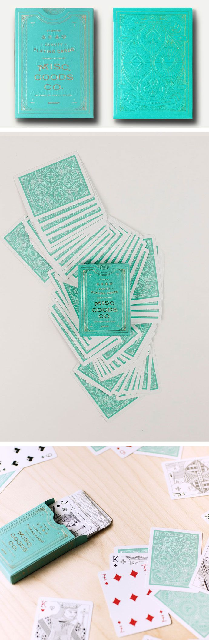 Misc. Goods Playing Cards are a complete redesign, from the unique card backs to the intricate court cards. Even the fonts and symbols have been reimagined to create a very specific aesthetic and feel. Most striking of all is the foiled and embossed tuck case, which includes so many intricate details that you'll probably discover something new each time you examine it. Currently available in black, sea green, blue, and red. #colossal