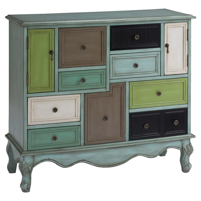 Bright and boho-chic, this stylish cabinet features 10 drawers in a weathered multicolor finish.