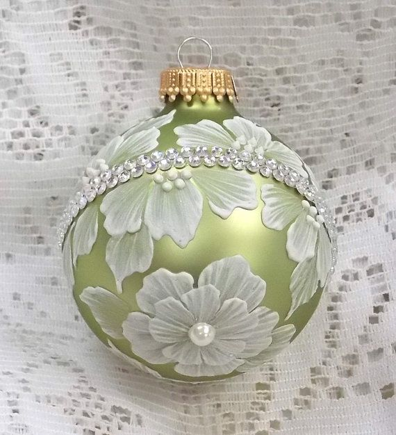 Soft Spring Green Hand Painted 3D White MUD Texture Florals with Rhinestone Bling 255