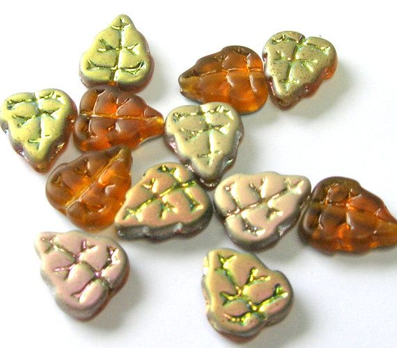Topaz Czech Glass Leaf Beads  Czech Glass Beads by amazingbeads - 5 euro