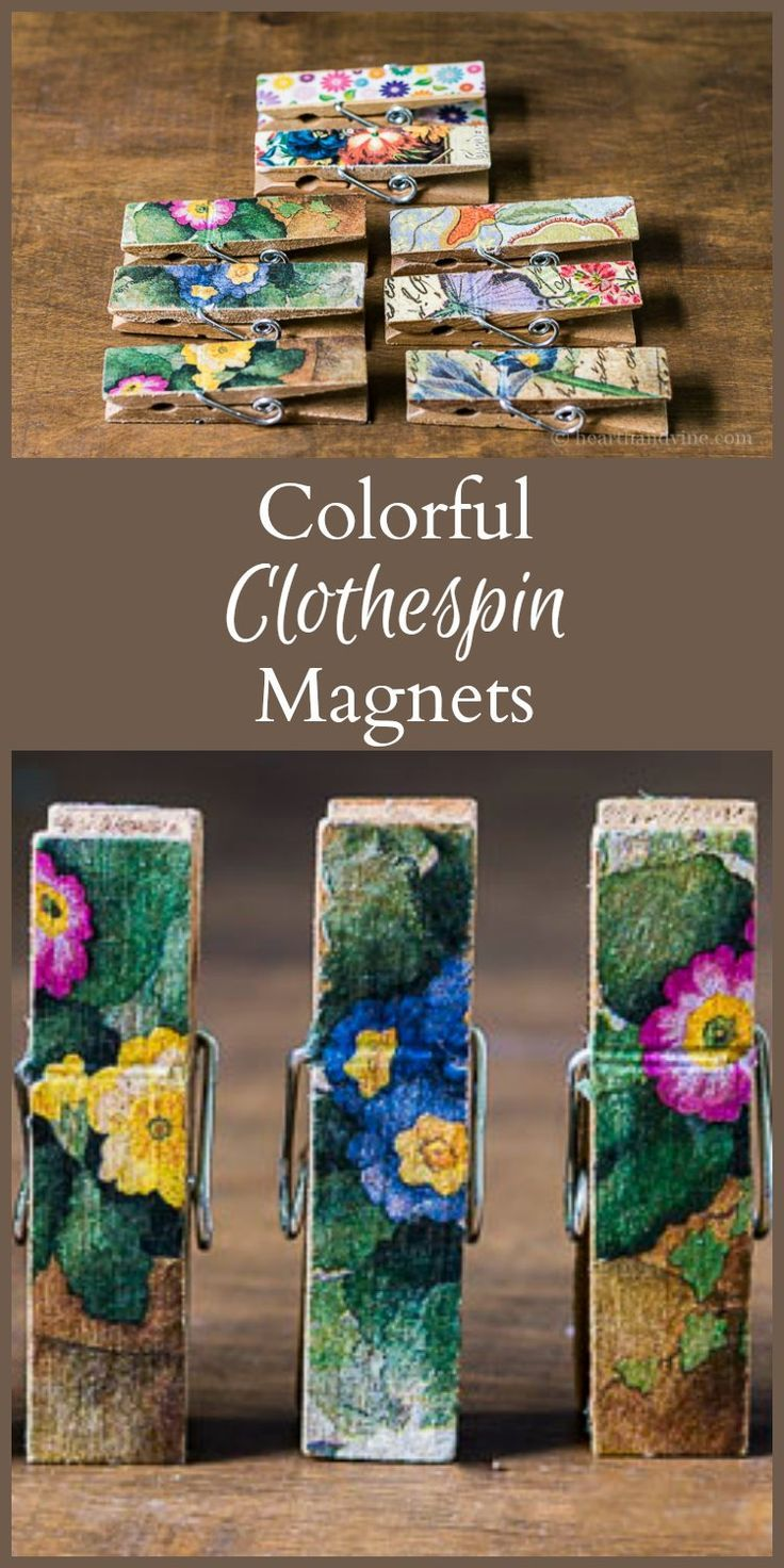 This simple tutorial will show you how to make colorful magnetic clothespins to use on your fridge, or command center. They also make wonderful gifts. #crafts #decoupage #modpodge #gifts