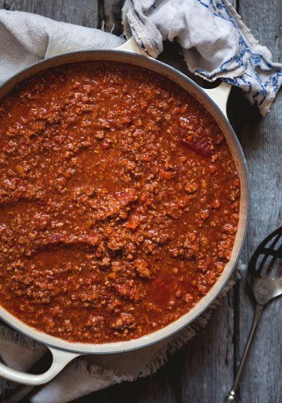 La sauce à spag de Marilou : j'ai fait des petites rectifications: porc au lieu du boeuf, ajout: piments broyés, basilic, oregano (1 cu. à table ch.), sauce worchestershire, sauce 57