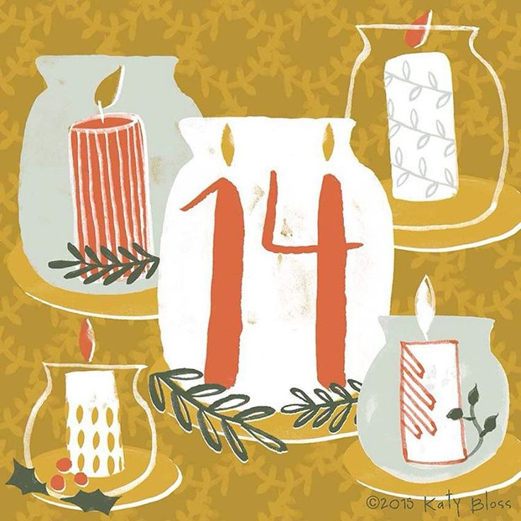 «Light a Christmas candle on day 14 of illustrated advent.»