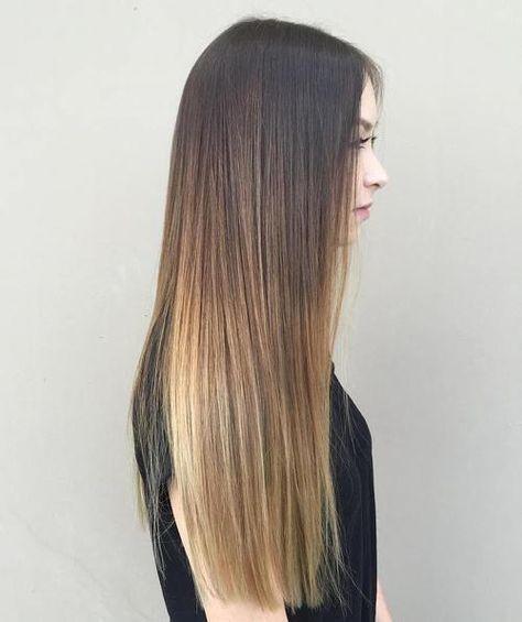negro de pelo largo de color marrón claro ombre recta