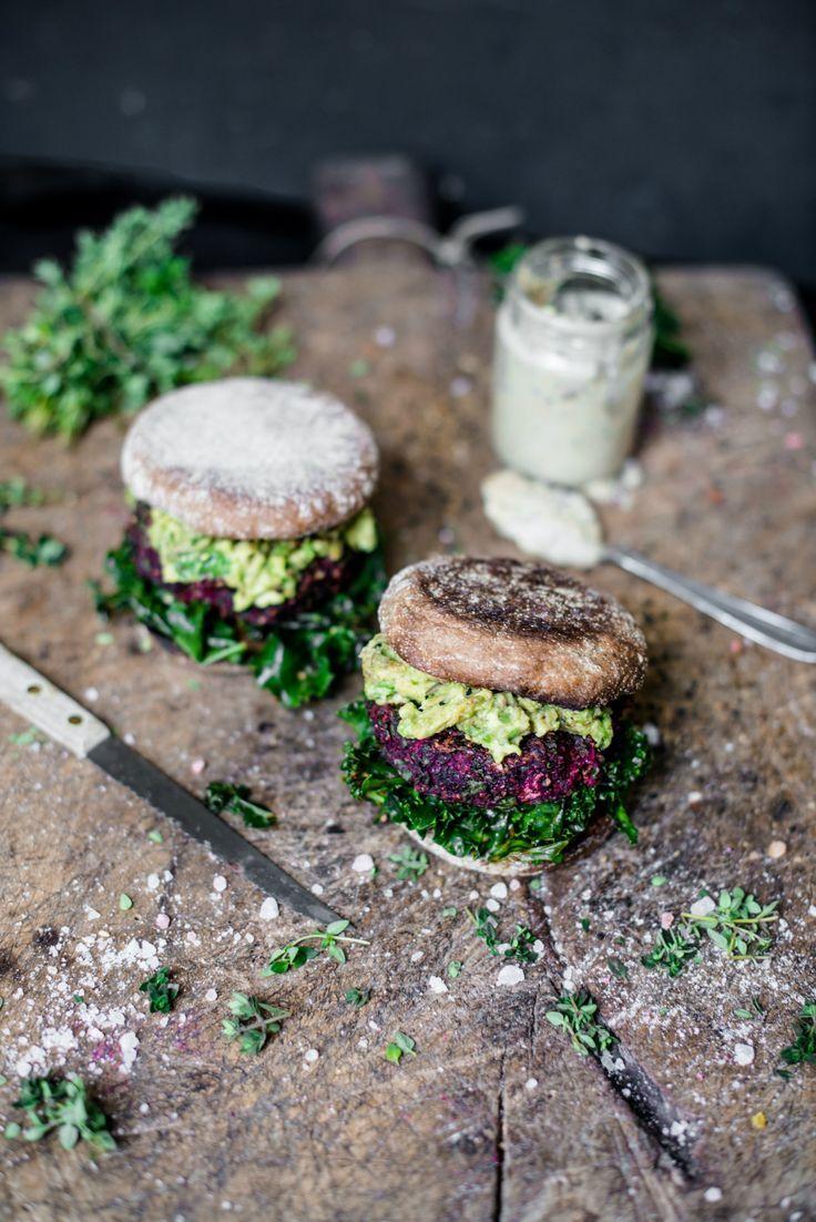 Beetroot falafel burgers