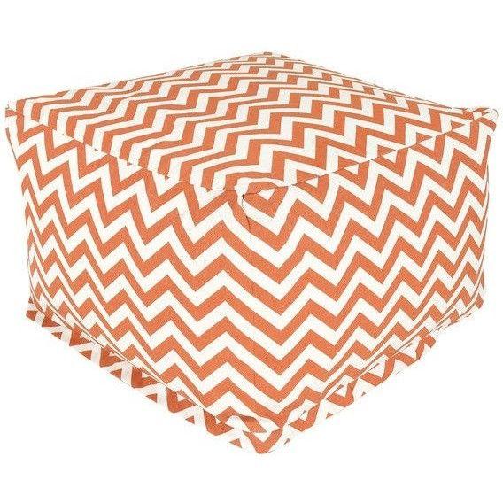 Burnt Orange and White Chevron Stripe Bean Bag Chair Ottoman - Made in USA