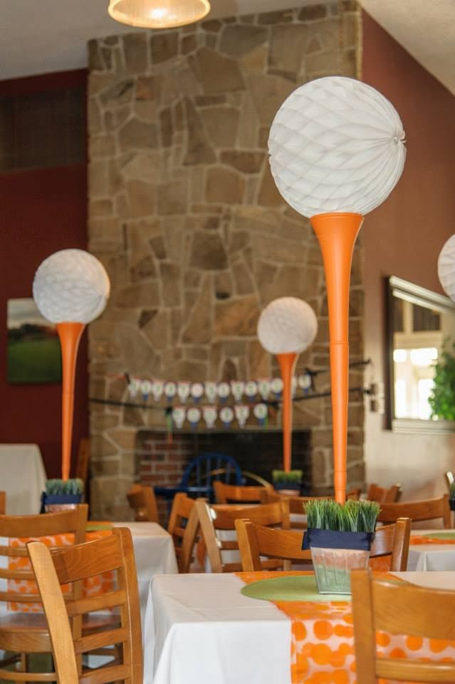 {Golf-themed party} - Love these golf tee centerpieces! #lorisgolfshoppe