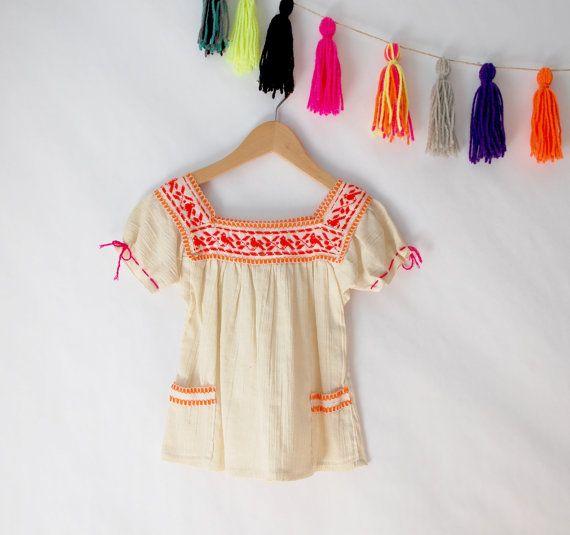 Vintage Mädchen mexikanischen Boho Spitze, Baumwolle Gaze bestickte Spitze, mexikanische bestickt Top, Größe 4