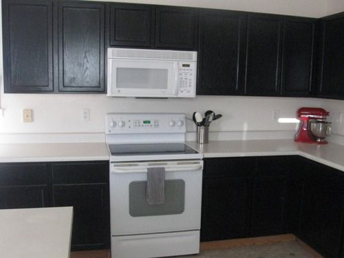 black cabinets  Kitchen Updates  Pinterest  White Appliances, Black