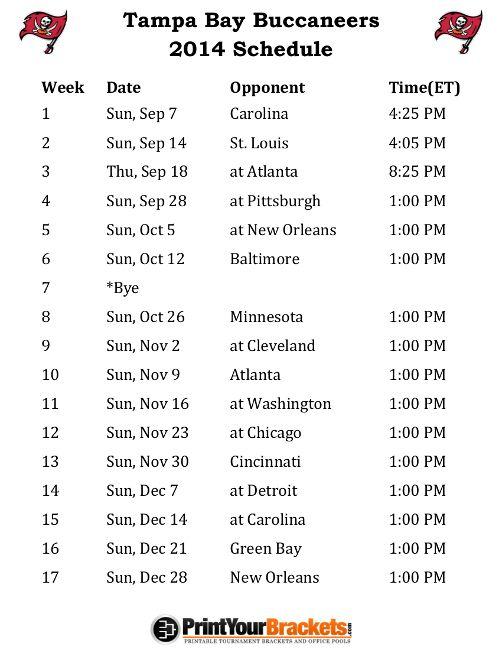 Printable Tampa Bay Buccaneers Schedule - 2014 Football Season