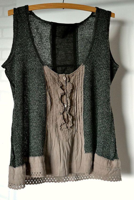 Vêtements de upcycled, gilet, tricot, gris foncé, bown, coton, recyclé tunik, boho