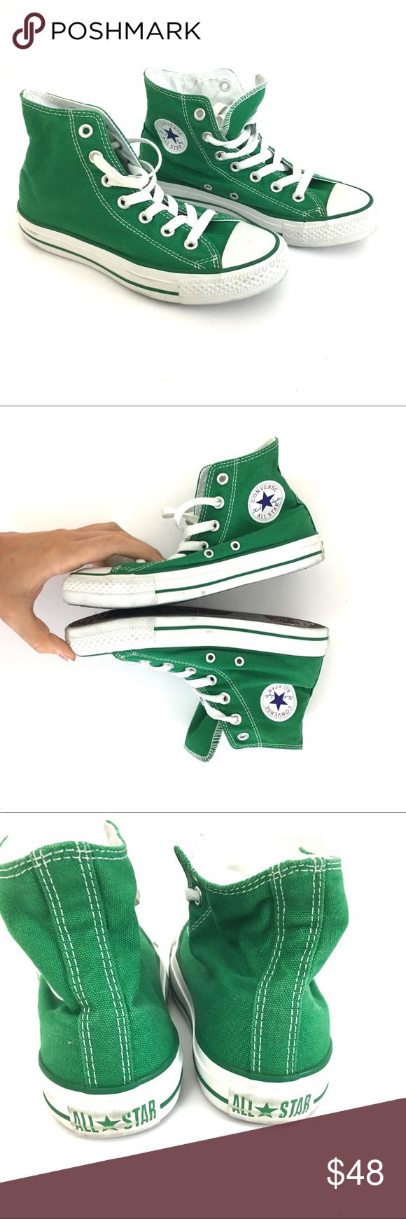 High top Green converse Green converse high tops  Unisex. Men's 4 women's 6. Worn once. Light scuffing and marks to the white rubber parts and light wear to the sole.  🌹no trades 🌹discounts on bundles of 2+  🌹1000 items listed, take a peak!  🌹suggested user, posh compliant:)  bbbo Converse Shoes Sneakers