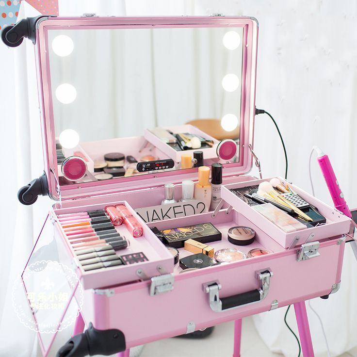 Music Led Lights Cosmetic Case Mirror Trolley Caster Support Aluminum Makeup Artist Makeup Korea Pink Black