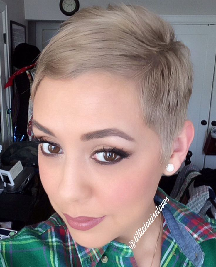 Soft and feminine pixie cut. The perfect shade of beige/ash blonde which looks great on olive and darker skin tones.