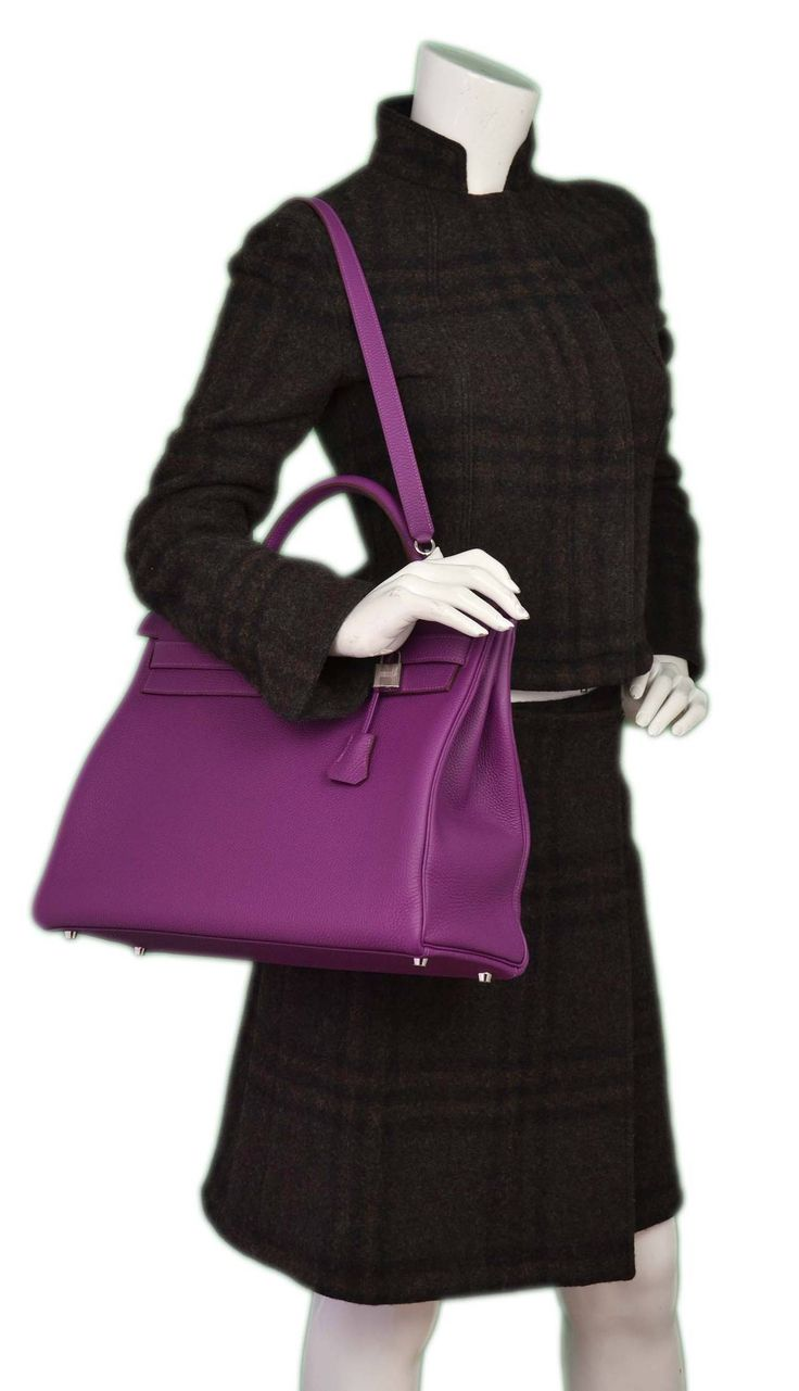 Hermes New In Box 2014 Anemone Togo Leather 40cm Kelly Bag Phw ...