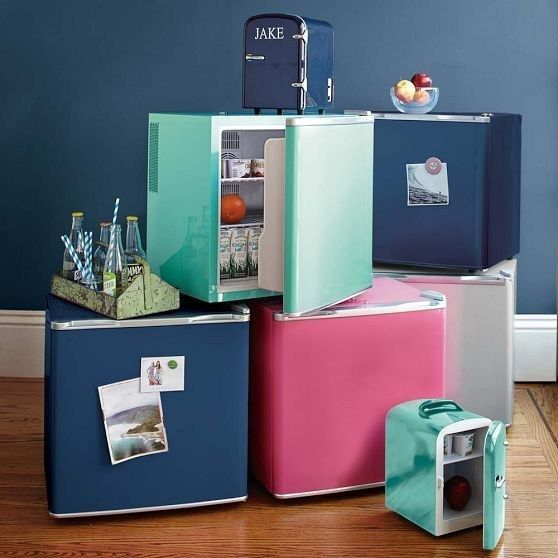 Get a colorful dorm-sized fridge for under your desk. | 54 Ways To Make Your Cubicle Suck Less