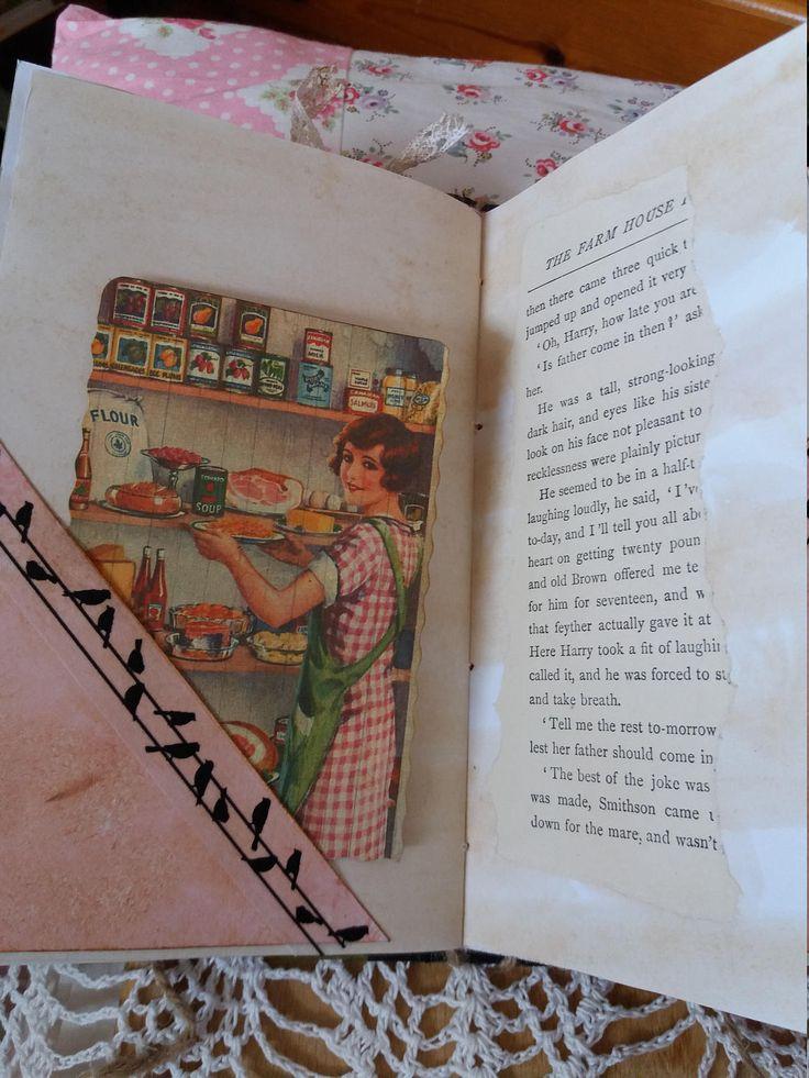 Journal à la main. La couverture est un livre vintage qui a été vidé et réutilisé comme un journal. Le thème de l'ancienne ferme a été maintenu avec des images d'animaux de basse-cour et scènes de ferme. Quelques coupures de page et une illustration du livre sont inclus. Le journal a 3 signatures avec un total de 50 pages (100 côtés), rentrez les taches et beaucoup de journalisation cartes et étiquettes pour l'écriture. Comprend thé teinté de papiers et papiers de scrapbooking. Brochure de…