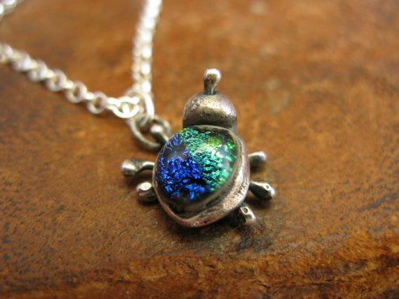 Handcrafted Unique Solid Silver and Dichroic Glass Bug Pendant - Blue & Green Bug on Sterling Silver Chain - Fully UK Hallmarked on Etsy, $57.67