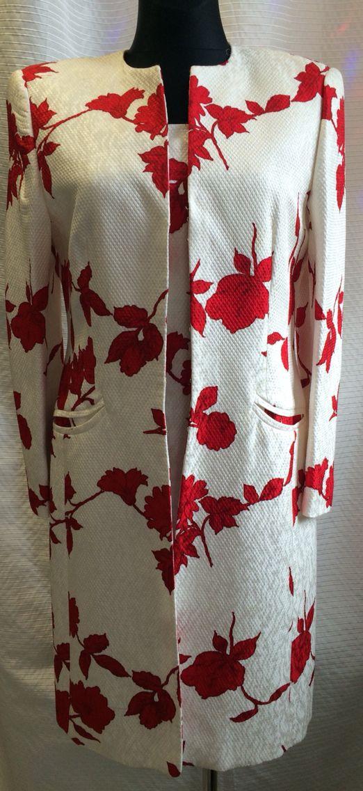 ESCADA komplet sukienka gorsetowa + płaszcz roz 42/40 bawełna z jedwabiem cena za komplet 799 zł