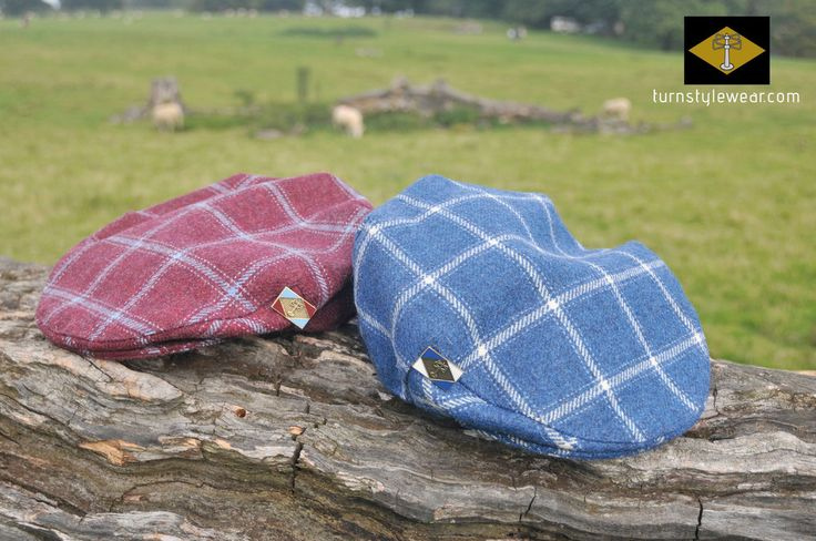 Caps in claret and blue and blue and white tweed. By Turnstylewear. turnstylewear.com