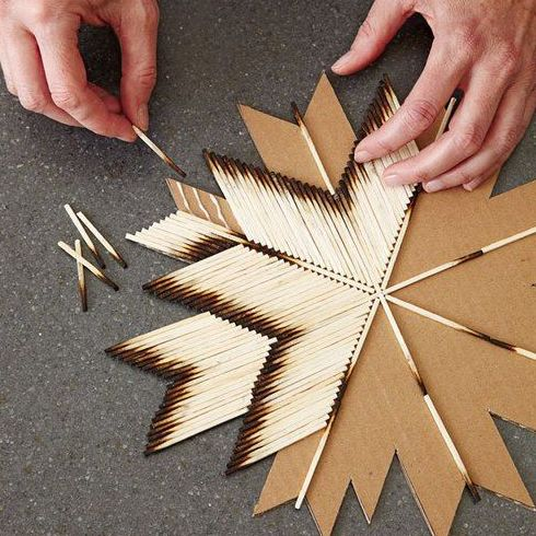 DIY craft on Simply Grove. Hot glue already-lit matches to a card board cut-out. I did this when I was in grade school. My parents decided to use it as their Christmas tree topper this year -E-