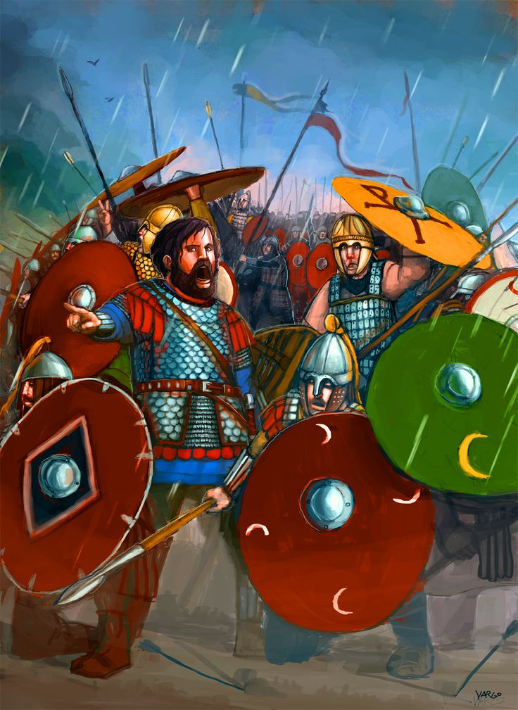 General Belisarius and Emperor Justinian I's Eastern Roman soldiers rallying for a counter attack- 6th century A.D in rainy Northern Italy