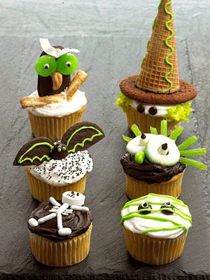 Owl, Witch, Goblin, Mummy, Bat and Skeleton Cupcakes. See how to make these and more Halloween cupcakes: http://www.midwestliving.com/food/holiday/decorate-fun-halloween-cupcakes/