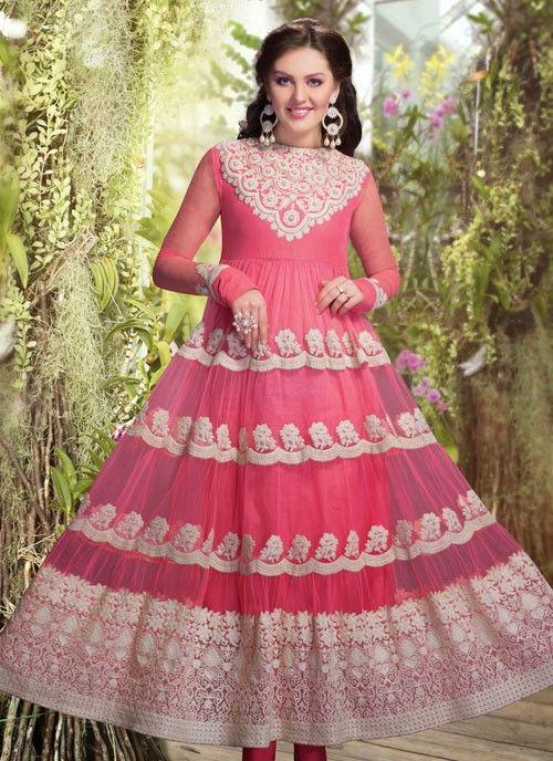 Fascinating Pink Net #Salwar Kameez #salwarkameez #pakistanisalwarkameez #womenapparel #ethnicwear