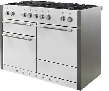 The Mercury 1200's striking design and variety of hues combine effortlessly to provide a design statement in your kitchen. The Stainless Steel side trims give a retro finish whilst the option of a sleek Induction hob brings together design excellence and technological prowess.