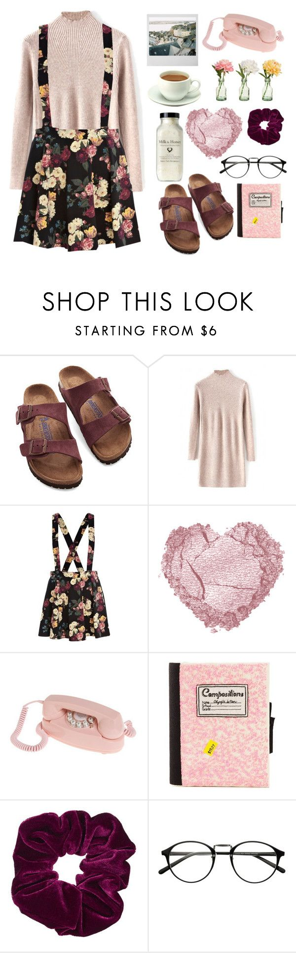 """""""Alaina"""" by galadriel-lynn ❤ liked on Polyvore featuring moda, Birkenstock, River Island, PEONY, Olympia Le-Tan, Topshop, women's clothing, women, female y woman"""