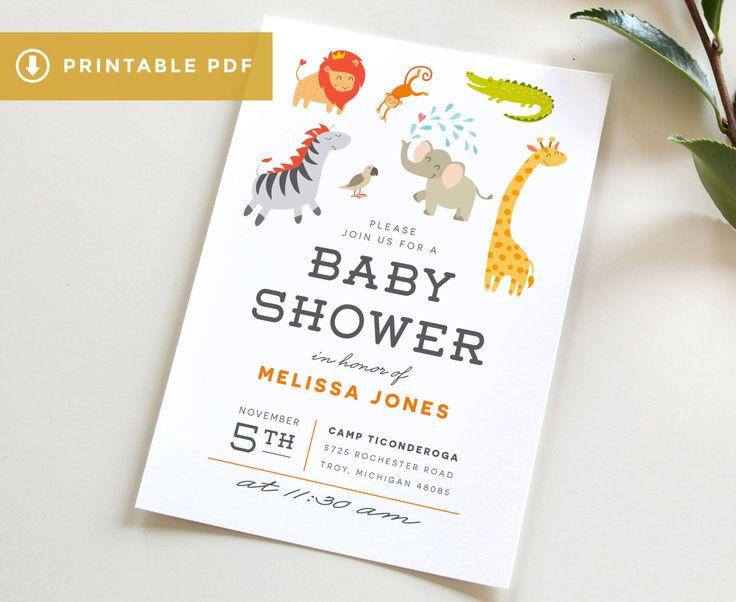 Jungle Baby Shower Invitation PDF, Dowload Safari Baby Shower Invitation, Printable Zoo Animal Baby Shower Invitation, Animal Baby Shower by TiedandTwo on Etsy https://www.etsy.com/listing/484447113/jungle-baby-shower-invitation-pdf