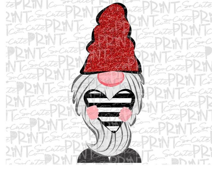 Valentines Day striped gnome clipart Valentine png file