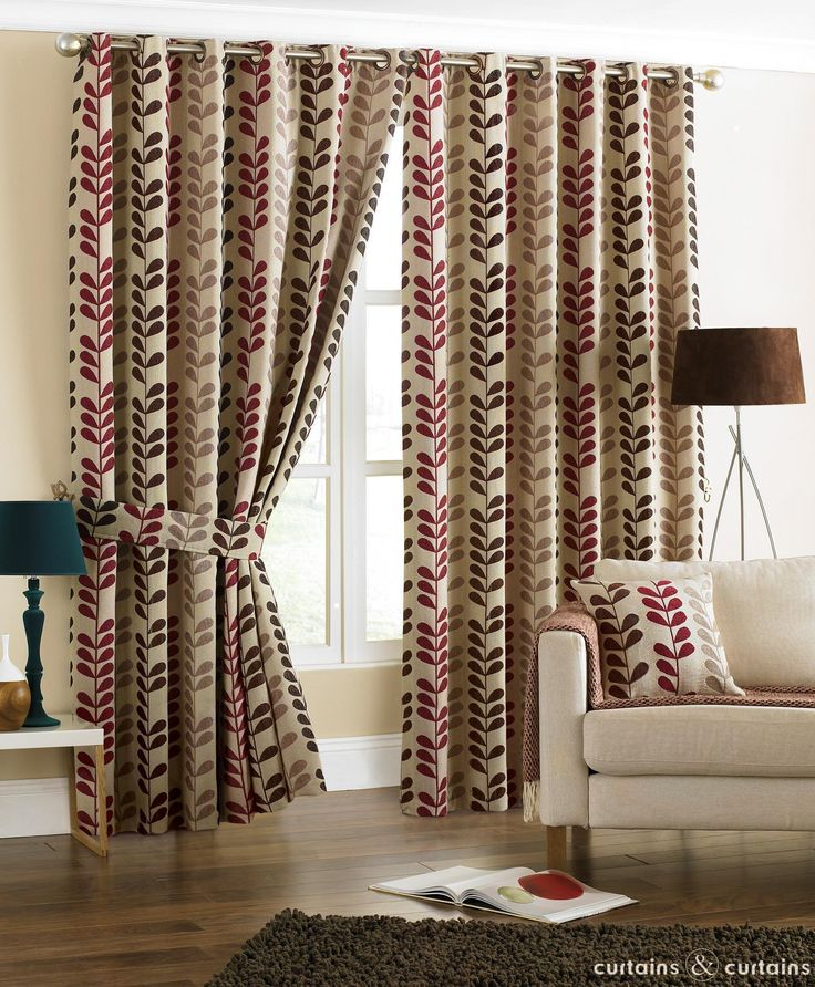 Red Brown Chocolate Rhythm Heavy Chenille Eyelet Curtain - Curtains & Drapes UK