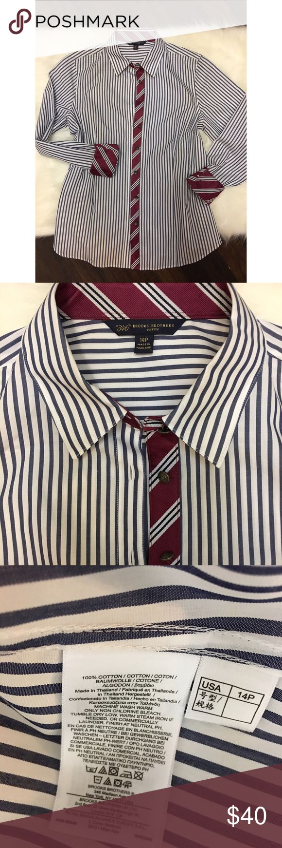 CYBER MONDAY SALE ⚡️Brooks brothers women's oxford So classic and smart! Brooks brothers striped button down blouse with the perfect trim detailing and buttons. Excellent condition, looks new. Brooks Brothers Tops Button Down Shirts