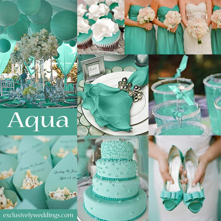 Aqua Wedding Color - Aqua is a lovely color that falls between teal and turquoise.  | #exclusivelyweddings