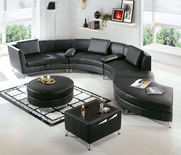 Modern Furniture Black Leather Sectional Sofa With Ottoman And Optional Multifunction Table Set