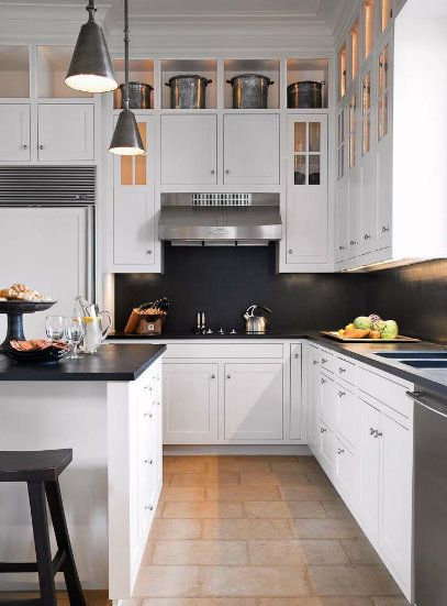 .: Nice Kitchens, Brabourn Farms, Clean Line, Black And White, White Cabinets, Dark Countertops, Dark Wall, White Kitchens, Black Counter
