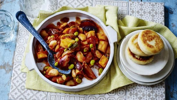 Mediterranean bean stew with potato griddle cakes        Create a taste of the Mediterranean with this hearty vegan stew served with potato cakes.Each serving provides 471kcal, 13.5g protein, 51g carbohydrate (of which 13g sugars),21g fat (of which 4g saturates), 13g fibre and 0.8g salt.