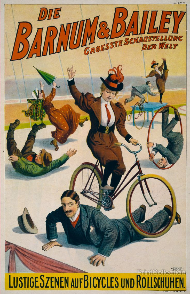 his published by the Strobridge Litho. Co,. in 1900 Cincinnati & New York. Created as a chromolithographat 76x49 cm.  Poster showing performers in street attire clowning with bicycles and rollerskates. Notes:No. 1900 B. No. 71. Printed in America.