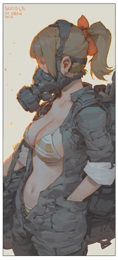 A woman with a gas mask by Taiwanese Pixiv user Krenz. Hella nice. Link to the original here (plus a couple more and some sketches): https://www.pixiv.net/member_illust.php?mode=manga&illust_id=52685093