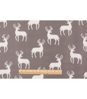 Blizzard Fleece Fabric-Grey Bucks