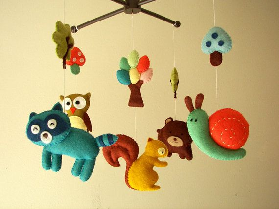 Baby crib mobile, forest mobile, animal mobile , felt mobile Forest friends 2 - Squirrel, Owl, Bear, Raccoon, and Snail. via Etsy