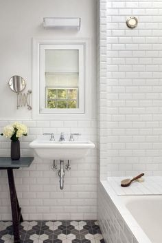 moroccan tile on floor in bathroom with subway tile on wall - Google Search