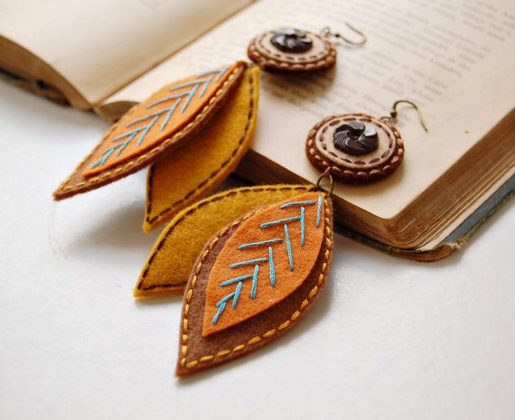 Falling Leaves Embroidered Wool Earrings