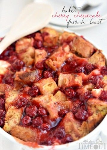 Cherry cheesecake meets breakfast in this quick and easy Baked Cherry Cheesecake French Toast! Your mouth will thank you. | MomOnTimeout.com | #breakfast #brunch #recipe