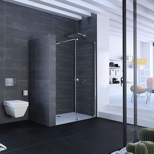 Walk-in shower / glass / for alcoves / with sliding door XTENSA PURE Hüppe