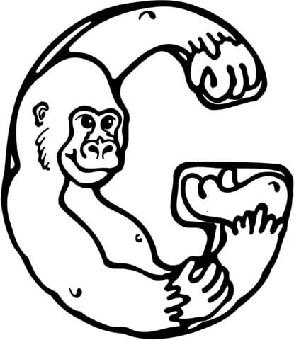 """Letter G is for Gorilla coloring page from Learn English Alphabet """"Letter is for"""" Set I category. Select from 20946 printable crafts of cartoons, nature, animals, Bible and many more."""