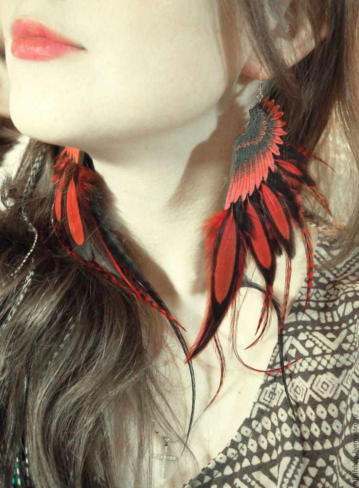 Серьги с перьями - Полёт на закате, красный, черный, крылья - серьги с перьями