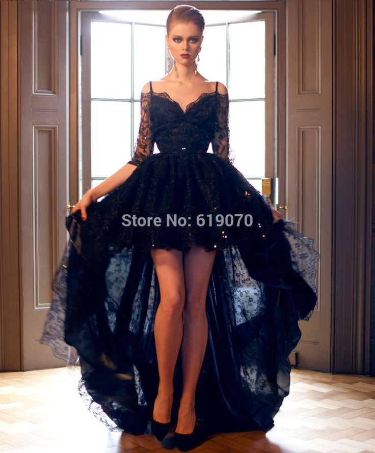 Special Navy Blue Prom Dress With Cap Sleeves High Low Prom Dresses V Neck Robe De Soiree Fast Shipping