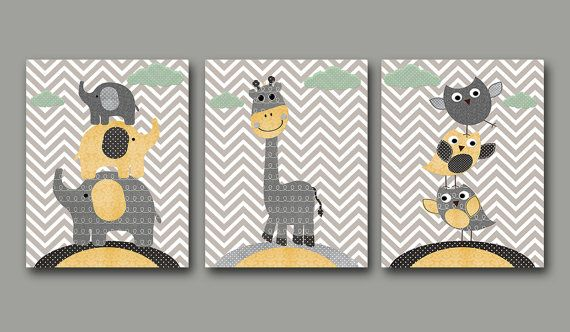 Baby Boy Nursery art print Childrens Wall Art Baby Room Decor Kids Print Nursery Decor Boy set of 3 11x14 Owls giraffe elephants yellow grey